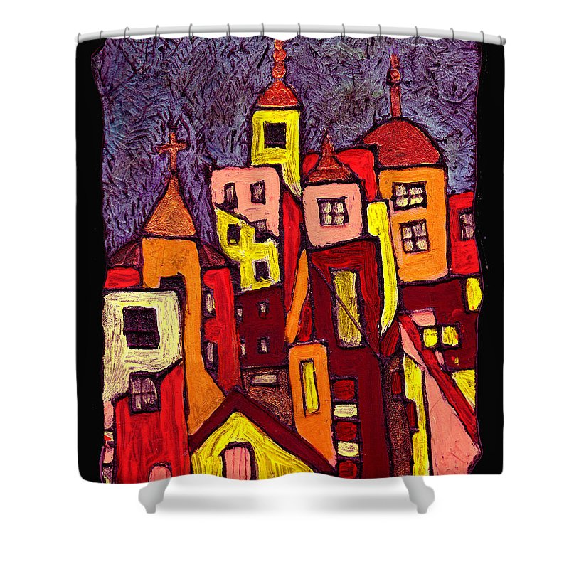 City Scapes Shower Curtain featuring the painting Hot Night In The City by Wayne Potrafka