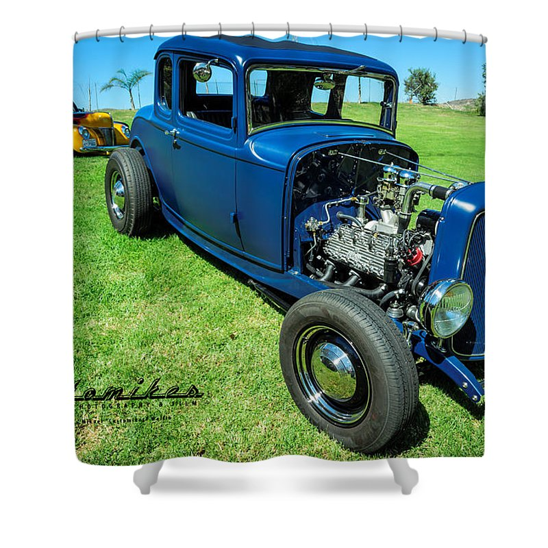 Ford Shower Curtain featuring the photograph Hot Rod Blues by Customikes Fun Photography and Film Aka K Mikael Wallin