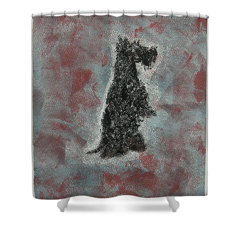 Scottish Terrier Shower Curtain featuring the mixed media Hot Scottie by Cori Solomon