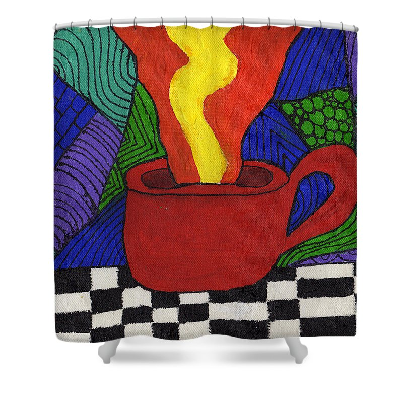 Tea Shower Curtain featuring the painting Hot Spot Of T by Wayne Potrafka