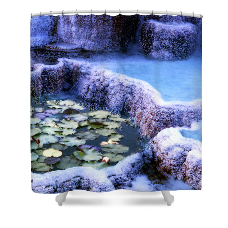 Lily Shower Curtain featuring the photograph Hot Springs And Lilies by Wayne King