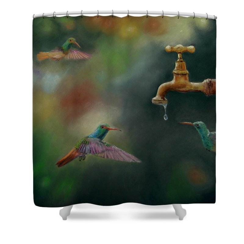 Birds Shower Curtain featuring the pastel Hot Summer Days by Ceci Watson