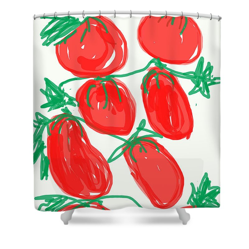 Hot tomato birthday card shower curtain for sale by kathy barney drawing shower curtain featuring the digital art hot tomato birthday card by kathy barney bookmarktalkfo Gallery