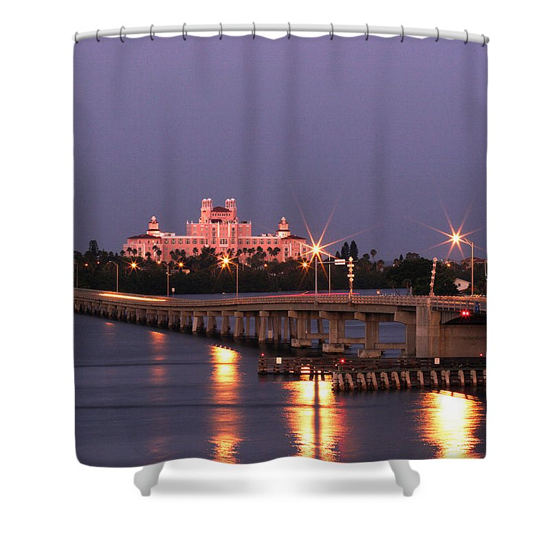 Don Cesar Shower Curtain featuring the photograph Hotel Don Cesar The Pink Palace St Petes Beach Florida by Mal Bray