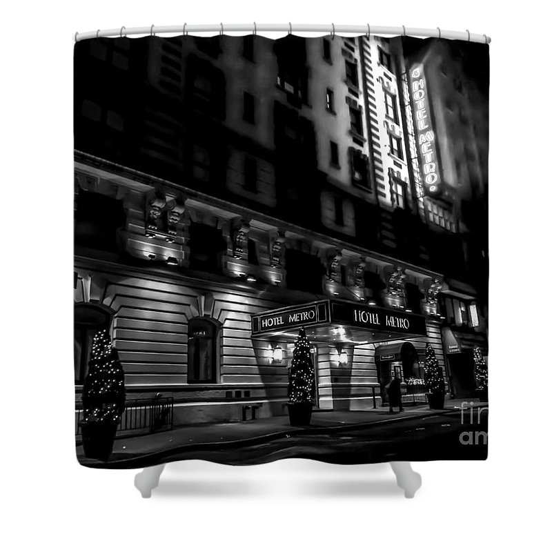 Hotel Shower Curtain featuring the photograph Hotel Metro, Nyc - Bw by James Aiken