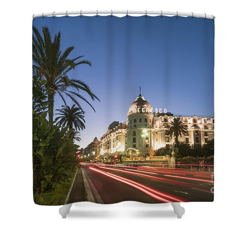 Provence Shower Curtain featuring the photograph Hotel Negresco Nice by Juergen Held