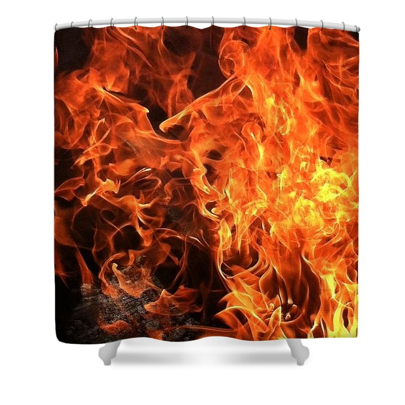 Fire Shower Curtain featuring the photograph Hot,firery Flames. by Sandra Underwood