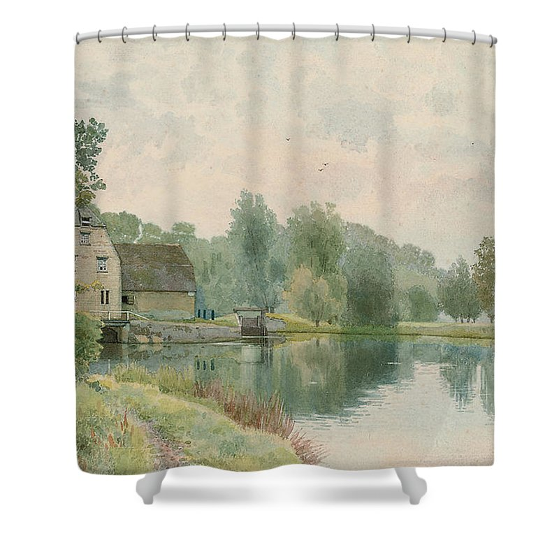 Landscape Shower Curtain featuring the painting Houghton Mill On The River Ouse by William Fraser Garden