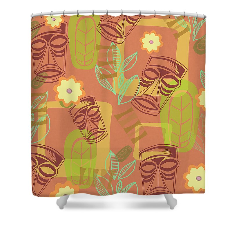 Tiki Shower Curtain featuring the painting Hour At The Tiki Room by Little Bunny Sunshine