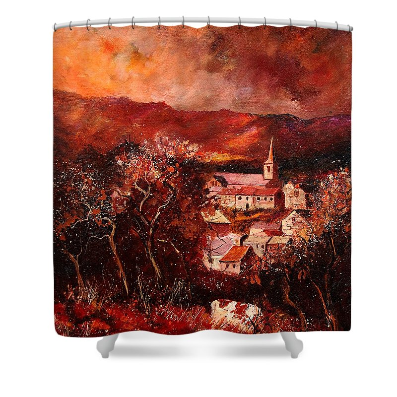 Tree Shower Curtain featuring the painting Hour Village 67 by Pol Ledent
