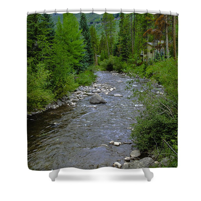 Spring Shower Curtain featuring the photograph House By The Stream In Vail 2 by Madeline Ellis