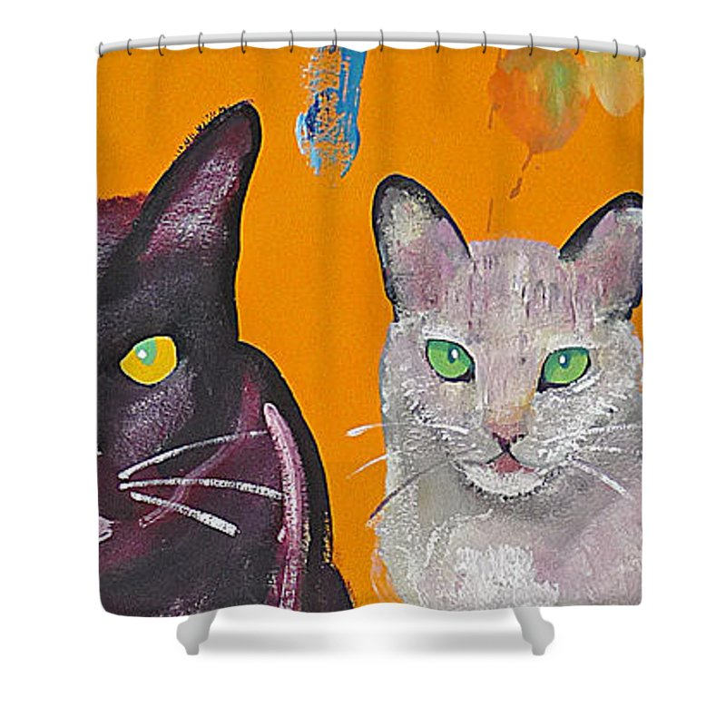Cat Shower Curtain featuring the painting House Cats by Charles Stuart