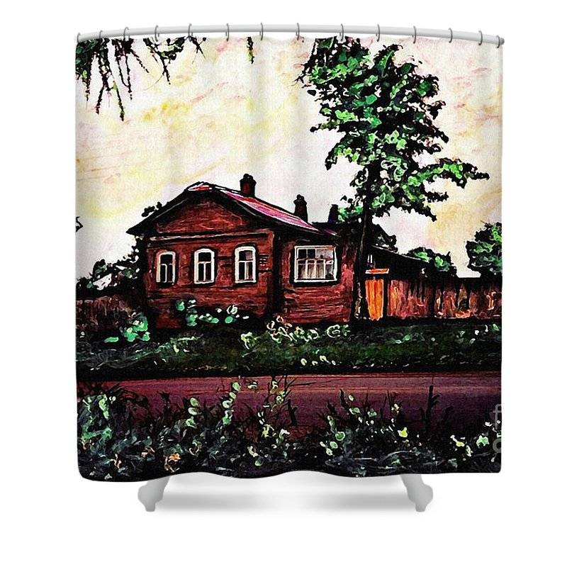 House Shower Curtain featuring the mixed media House In Sergiyev Posad  by Sarah Loft
