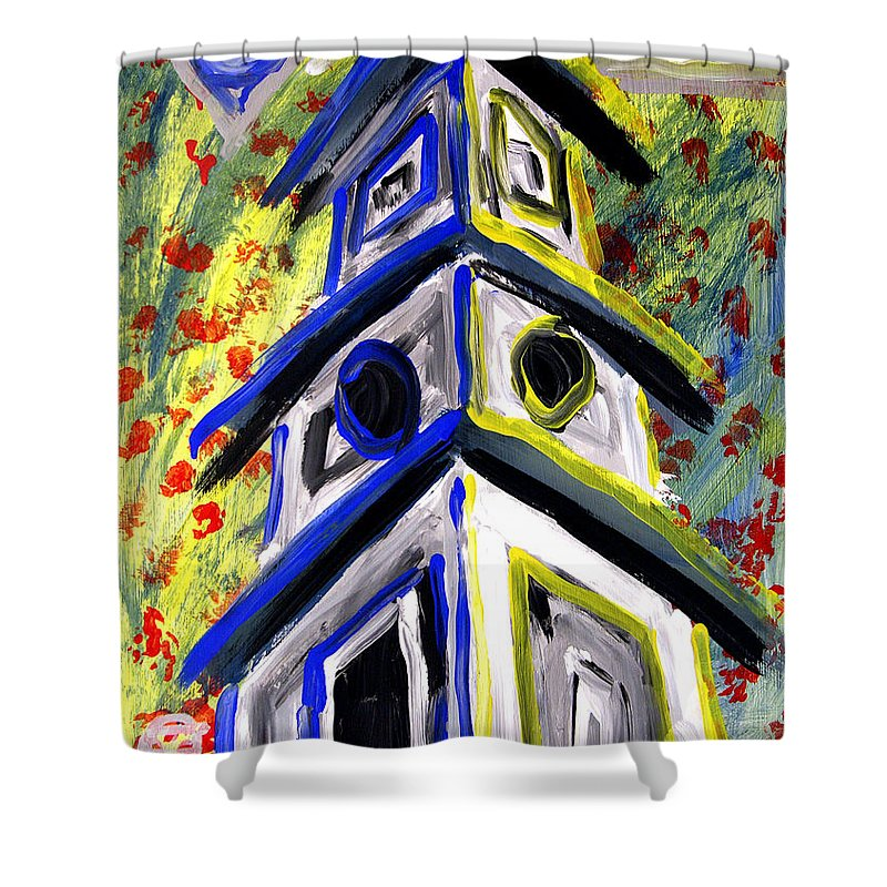Luke Shower Curtain featuring the painting House by Luke Galutia