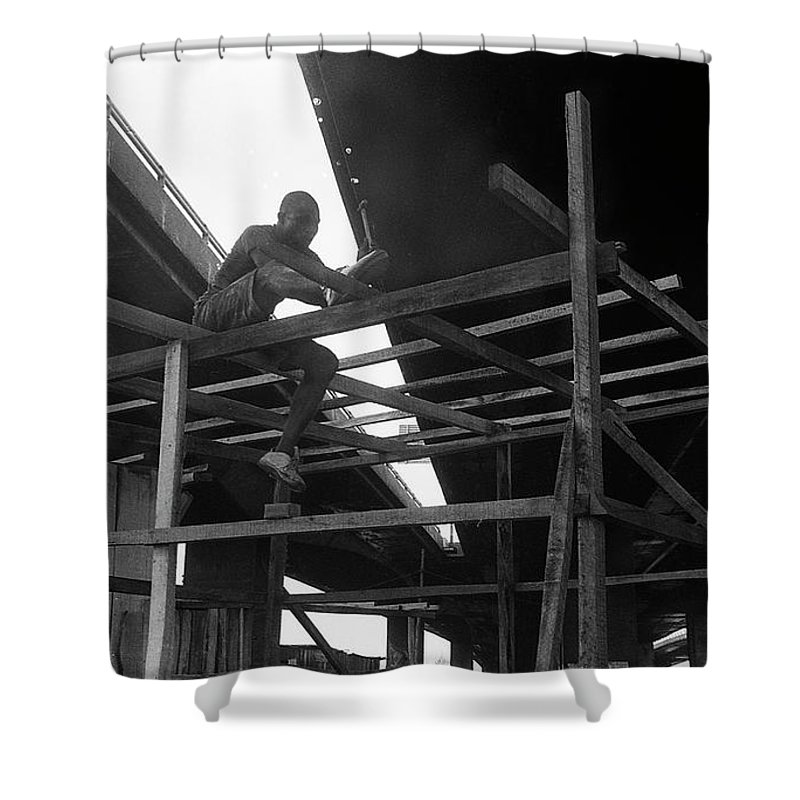 Shower Curtain featuring the photograph Wooden House Construction by Muyiwa OSIFUYE