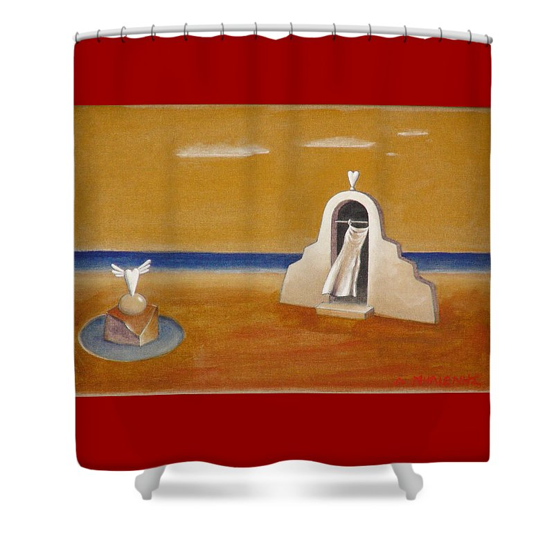 Chirico Shower Curtain featuring the painting House Of Eros by Dimitris Milionis