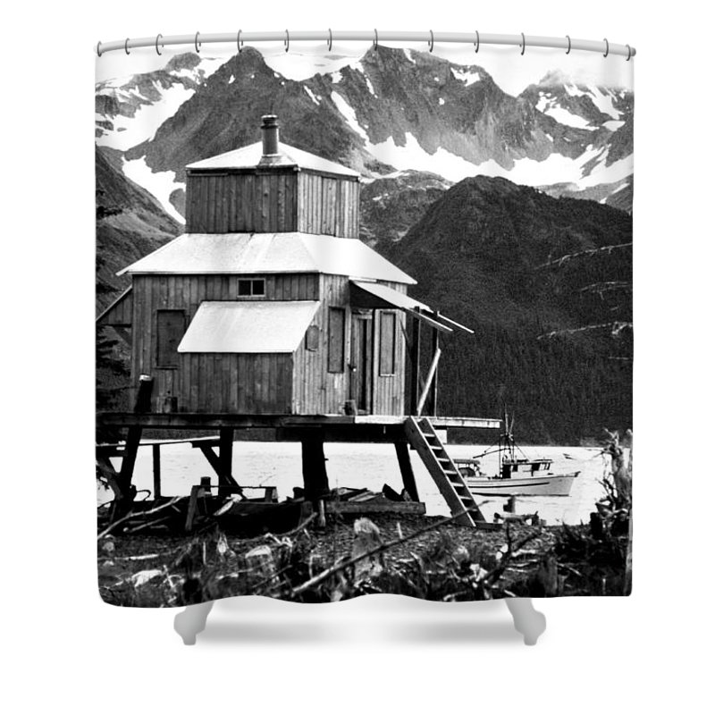 Alaska Shower Curtain featuring the photograph House Of Stilts Bw by James BO Insogna