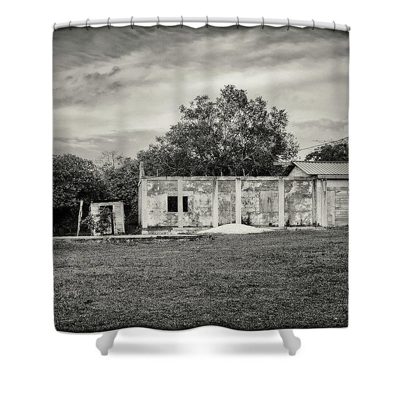 Rural Shower Curtain featuring the photograph House With Outbuildings by Jessica Levant
