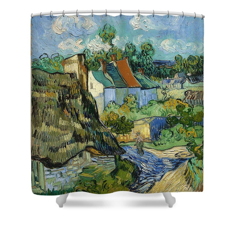 Vincent Van Gogh Shower Curtain featuring the painting Houses In Auvers by Van Gogh