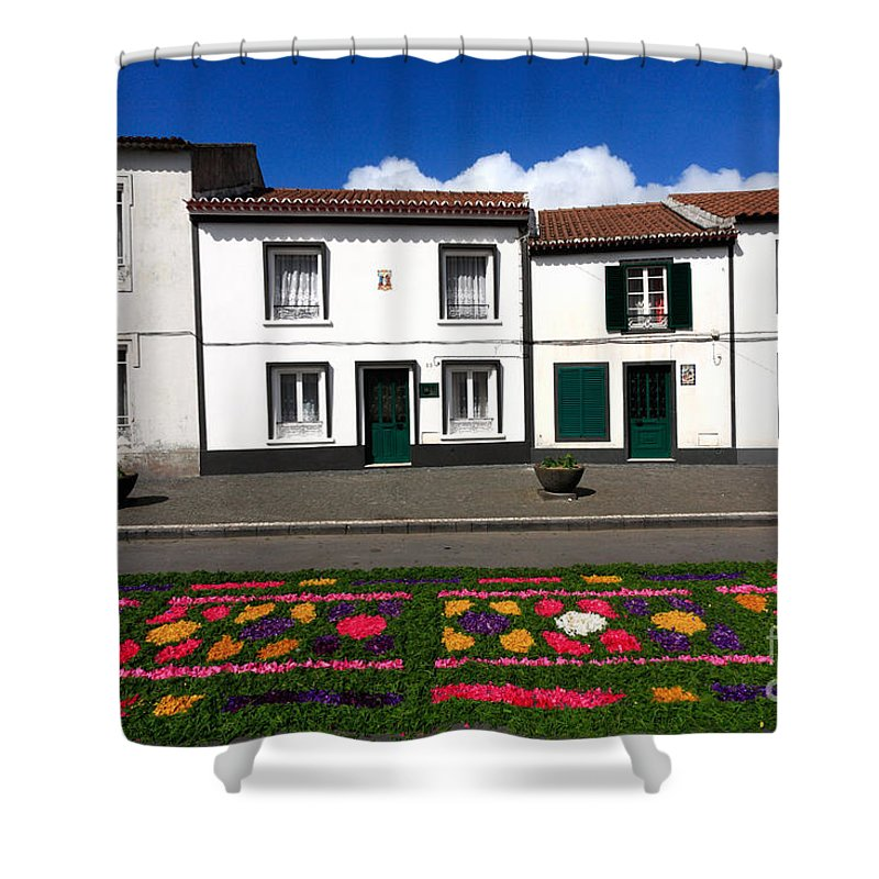 Azores Shower Curtain featuring the photograph Houses In The Azores by Gaspar Avila