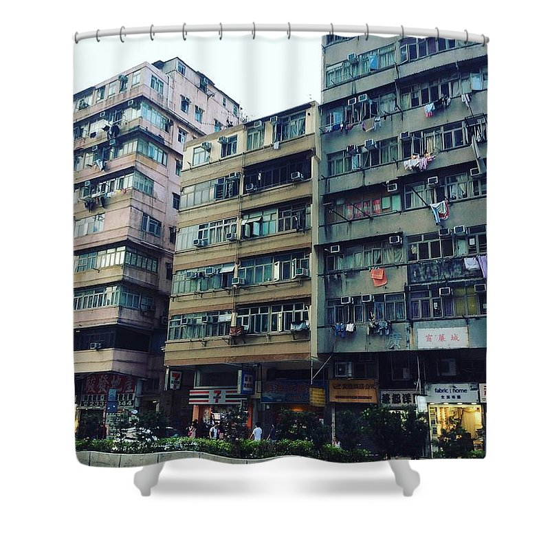 Hongkong Shower Curtain featuring the photograph Houses of Kowloon by Florian Wentsch