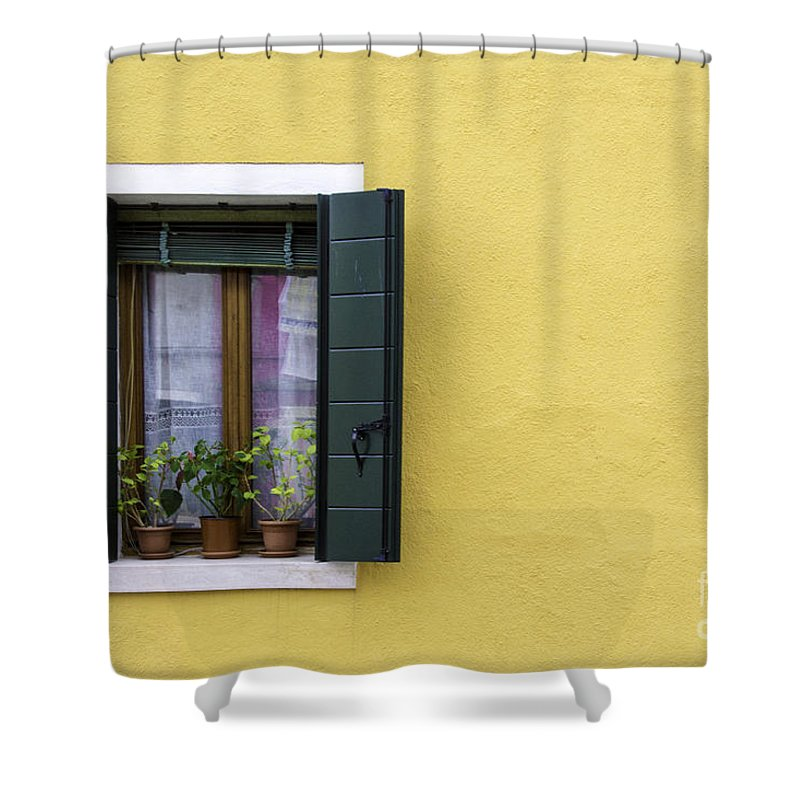 Yellow Shower Curtain featuring the photograph Houses Of Venice - Yellow by Sophia Pagan
