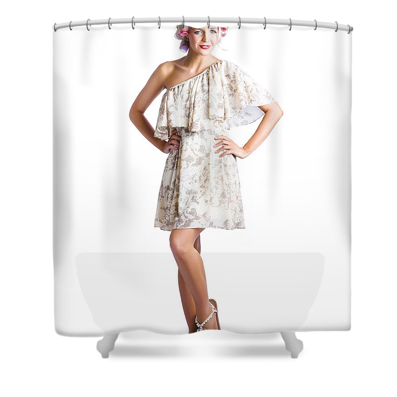 Adult Shower Curtain featuring the photograph Housewife With Curlers In Hair by Jorgo Photography - Wall Art Gallery