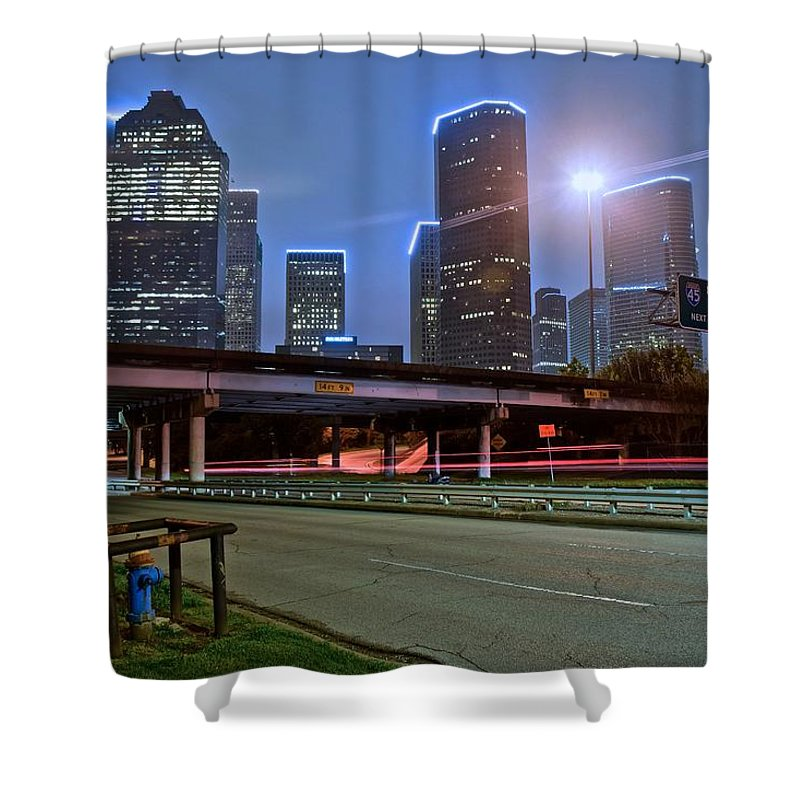Houston Shower Curtain featuring the photograph Houston Above by Skyline Photos of America