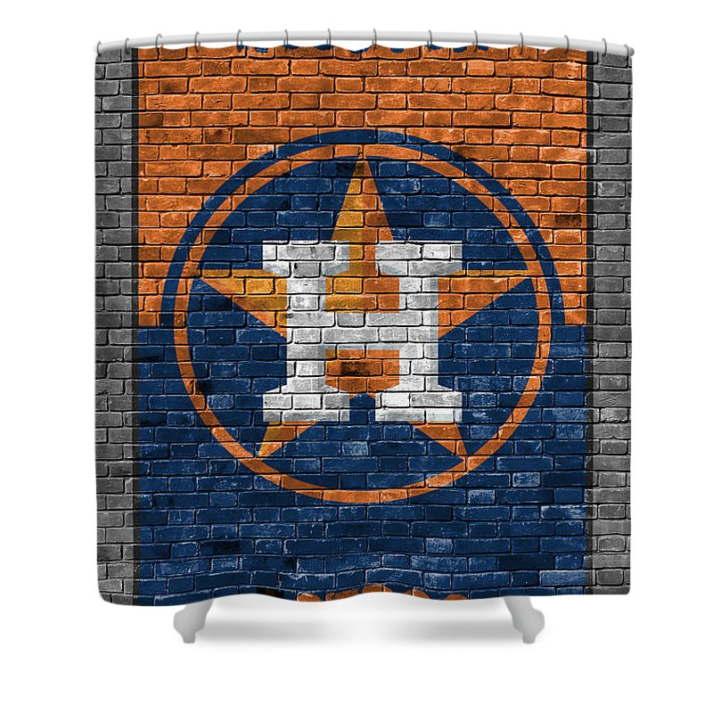 Astros Shower Curtain Featuring The Painting Houston Brick Wall By Joe Hamilton