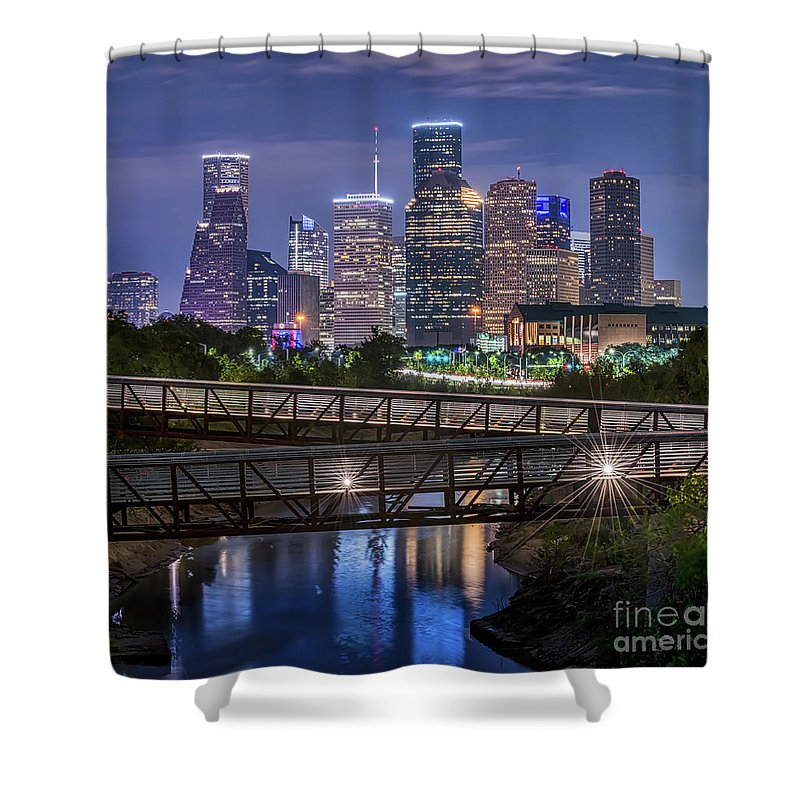 Houston Skyline Shower Curtain featuring the photograph Houston Skyline Over Buffalo Bayou Pano by Tod and Cynthia Grubbs