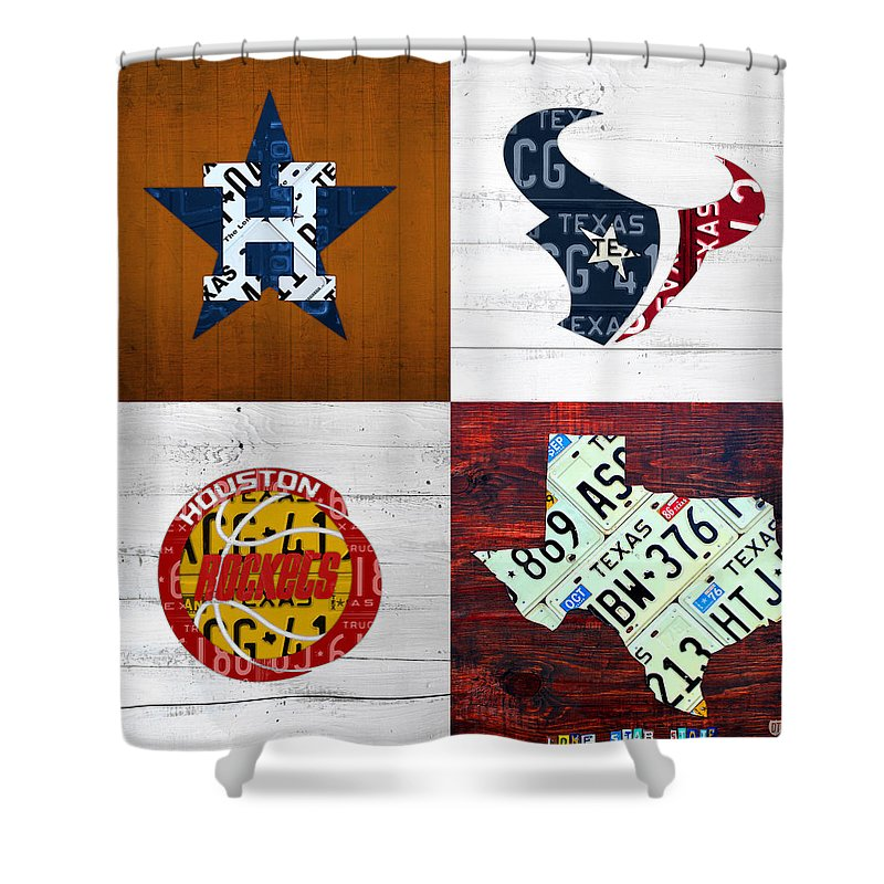 Houston Shower Curtain Featuring The Mixed Media Sports Fan Recycled Vintage Texas License Plate Art