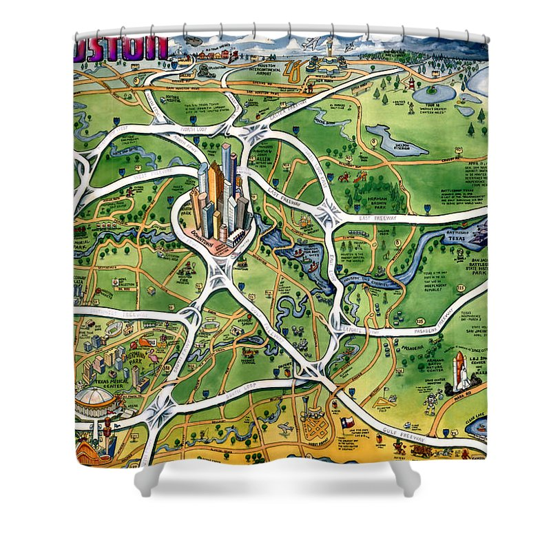 Houston Shower Curtain featuring the painting Houston Texas Cartoon Map by Kevin Middleton