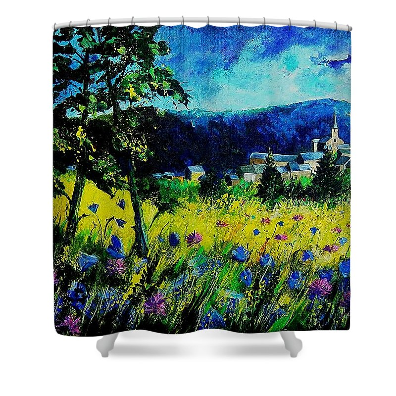 Flowers Shower Curtain featuring the painting Houyet 68 by Pol Ledent