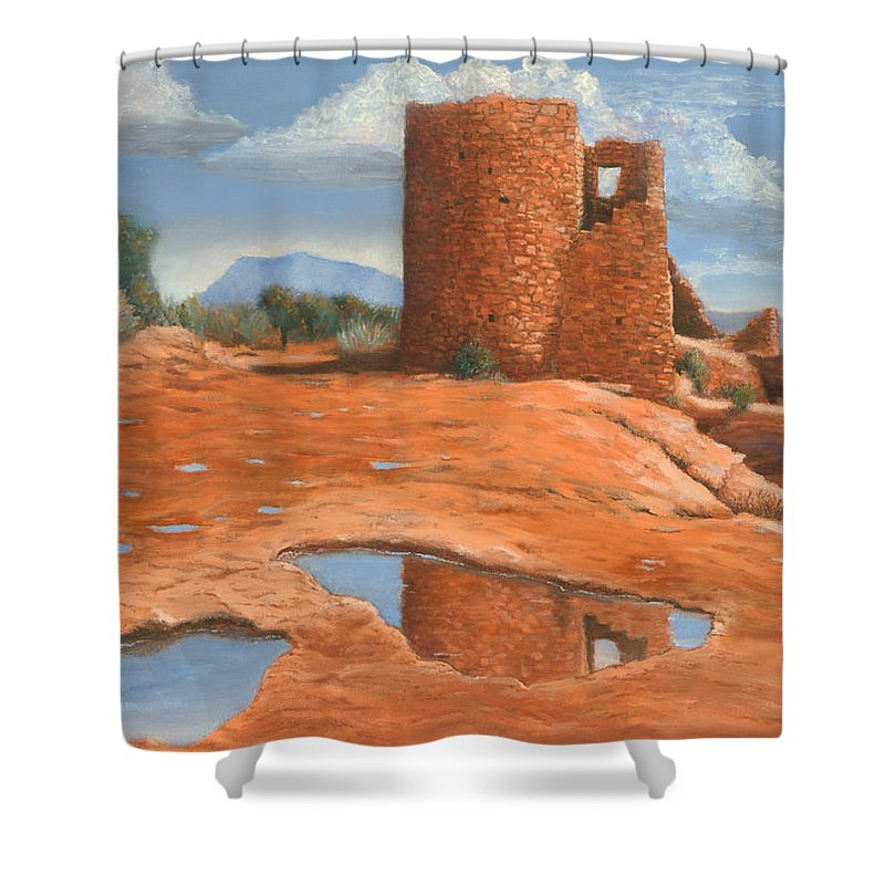 Anasazi Shower Curtain featuring the painting Hovenweep Reflection by Jerry McElroy
