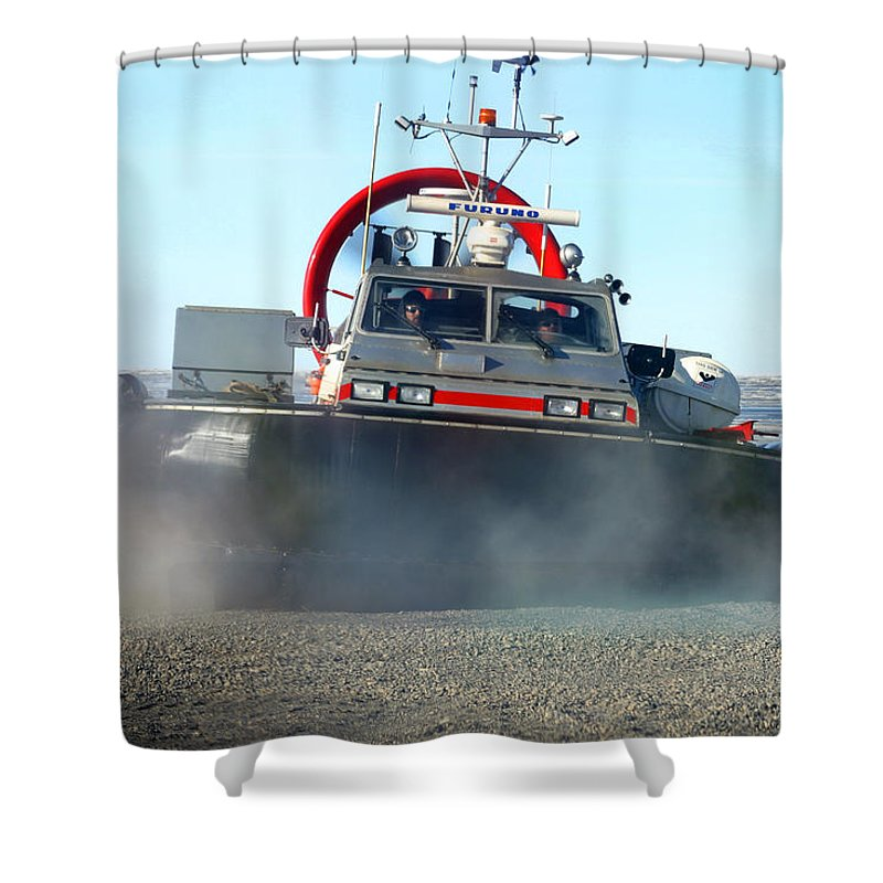 Hover Craft Shower Curtain featuring the photograph Hover Craft by Anthony Jones