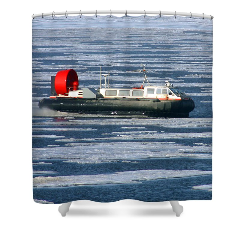Arctic Ocean Shower Curtain featuring the photograph Hovercraft On Frozen Artic Ocean by Anthony Jones