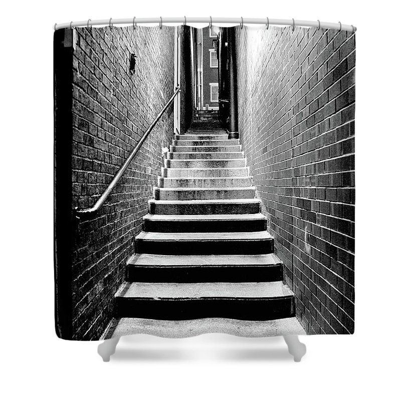 Brick Shower Curtain featuring the photograph How Work Feels by Greg Fortier