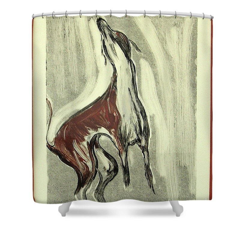 Monotype Shower Curtain featuring the mixed media Howling For Joy by Cori Solomon