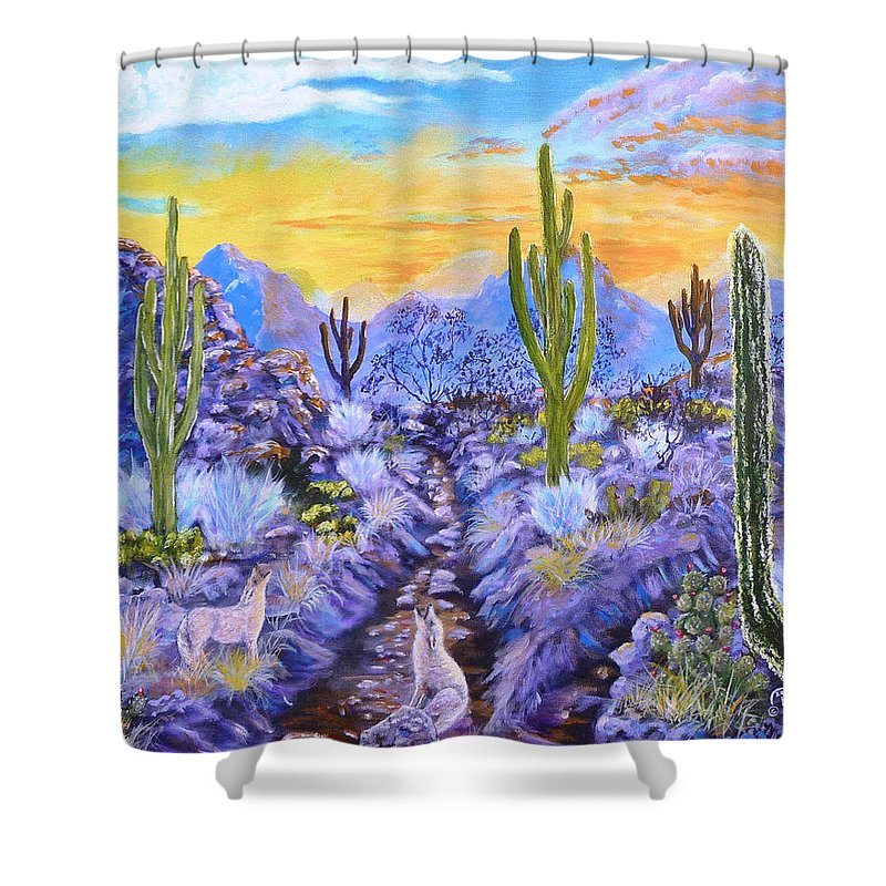 Landscape Shower Curtain featuring the painting Howling Good Evening by Darrel Henderson