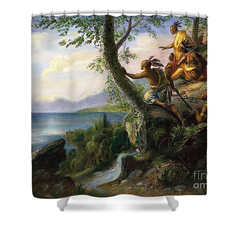 1609 Shower Curtain featuring the painting Hudson: New York, 1609 by Granger