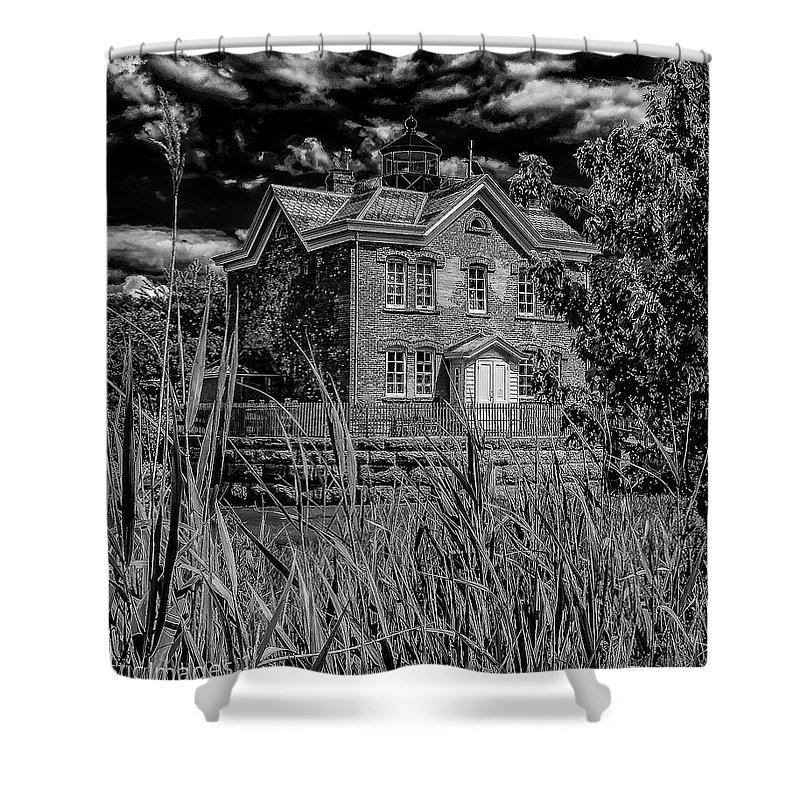 B&w Photography Shower Curtain featuring the photograph Hudson River Lighthouse by Nicholas Costanzo