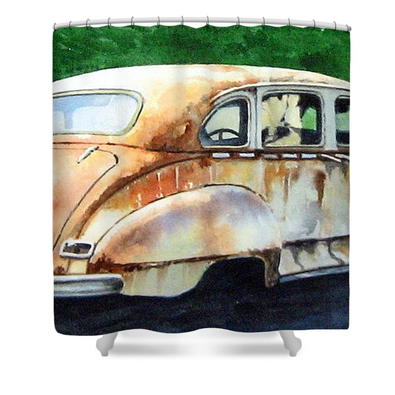 Hudson Car Rust Restore Shower Curtain featuring the painting Hudson Waiting For A New Start by Ron Morrison