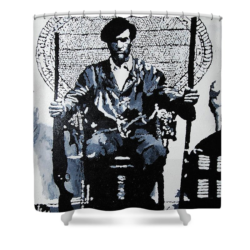 Black Panther Shower Curtain featuring the painting Huey Newton Minister Of Defense Black Panther Party by Lauren Luna