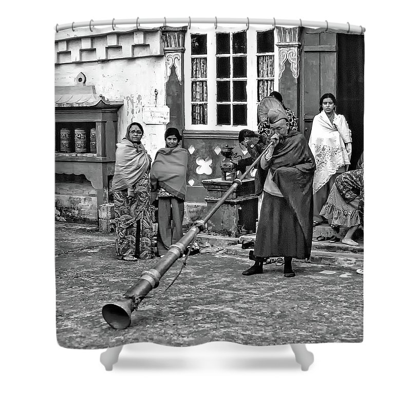 Ghoom Monastery Shower Curtain featuring the photograph Huff And Puff Bw by Steve Harrington