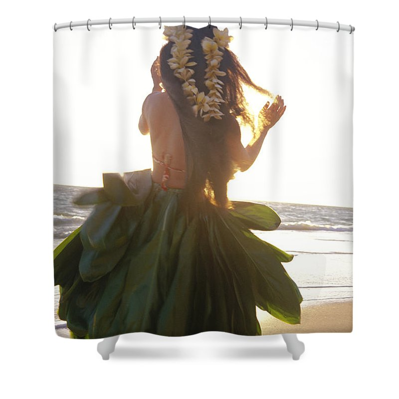 Back View Shower Curtain Featuring The Photograph Hula At Sunrise By Tomas Del Amo