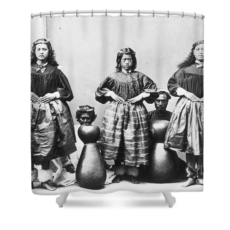1875 Shower Curtain featuring the photograph Hula Dancers, C1875 by Granger