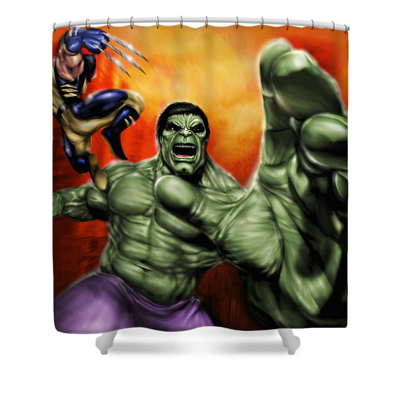 Hulk Shower Curtain Featuring The Painting By Pete Tapang
