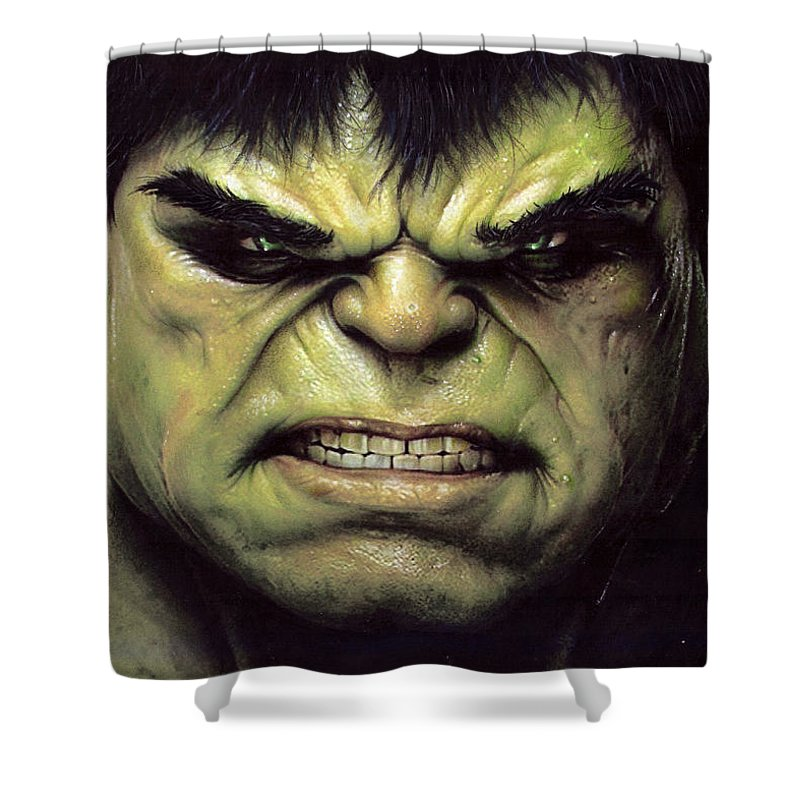 Hulk Shower Curtain Featuring The Drawing Realistic By Adilson Silva