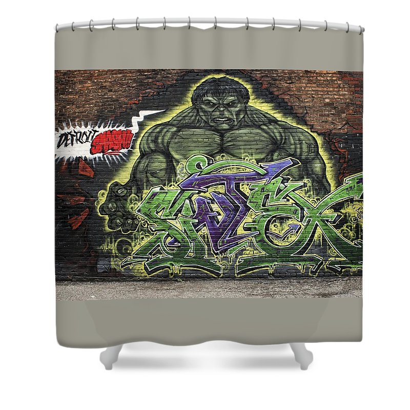 Grafitti Shower Curtain featuring the photograph Hulk Smash by Chris Fleming