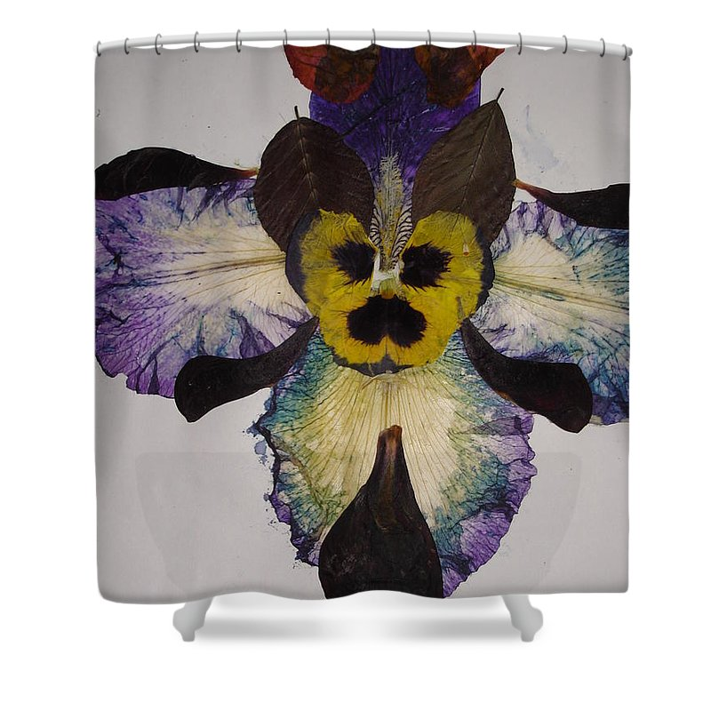Flower-vision Shower Curtain featuring the mixed media Human Insect by Basant Soni